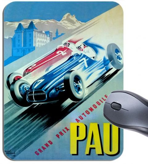 Pau Car Race Vintage 1950 Poster Mouse Mat. Motor Racing High Quality Mouse Pad